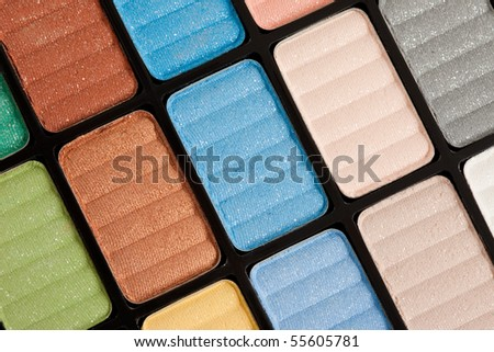 brown and blue make-up eyeshadows