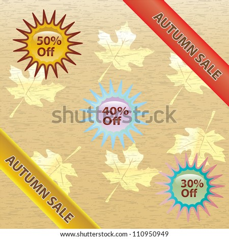 Brown and gold autumn sale over white background. illustration