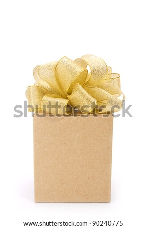 brown and gold box, brown gift box with golden ribbon.