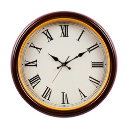 brown and golden round clock isolated on white background