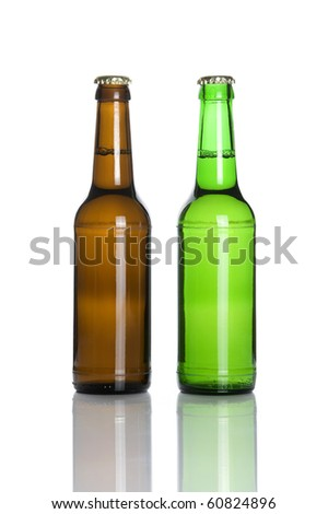 Brown and green beer bottles isolated on white background
