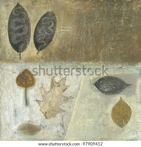 Brown and neutral tone leaf painting with textural qualities.