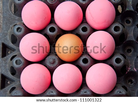 brown and pink egg for food