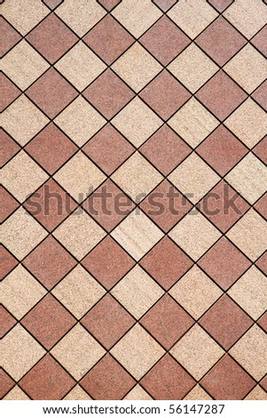 Brown and tan checkered wall in a vertical image