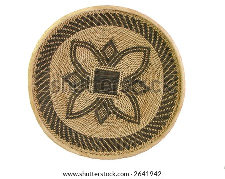 Brown and tan patterned african woven basket