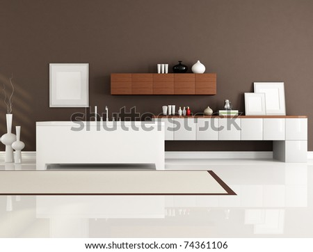 brown and white bathroom with minimalist bathtub-rendering