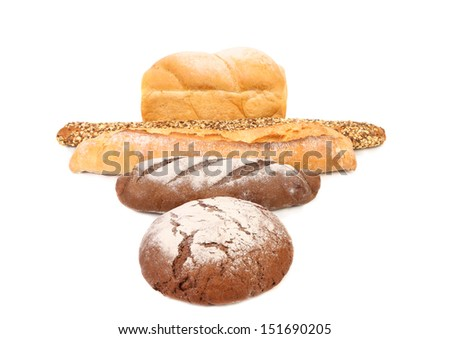 Brown and white loafs of bread.