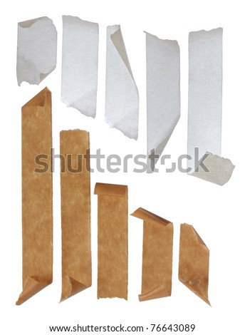 brown and white Strips of masking tape. Isolated on white background.