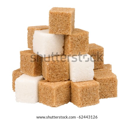 brown and white sugar cubes,isolated on white with clipping path. - stock photo
