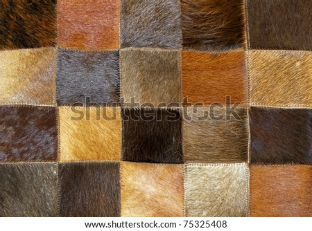 Brown animal fur made from patches and parts