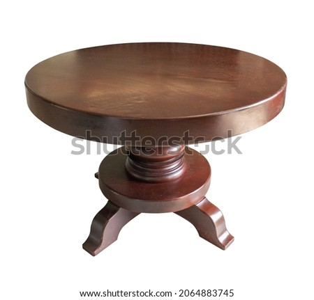 Brown antique wood round table isolated on white background