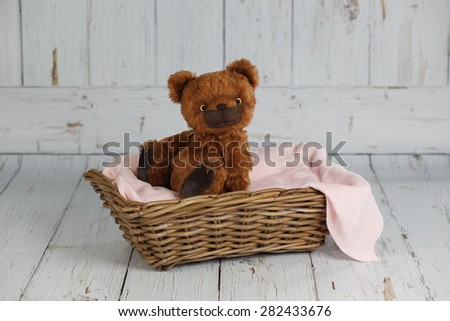 Brown artist teddy bear in pink clothes on white background