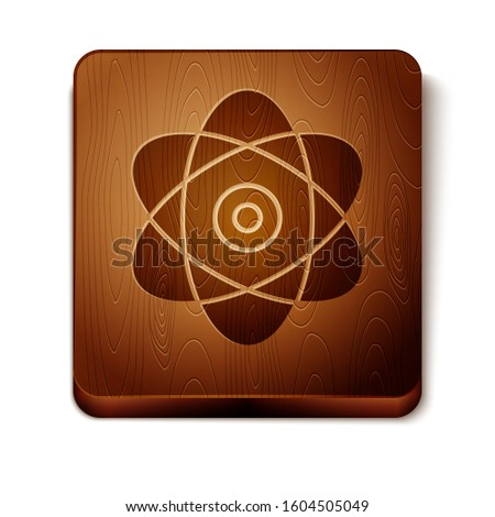 Brown Atom icon isolated on white background. Symbol of science, education, nuclear physics, scientific research. Electrons and protons sign. Wooden square button.