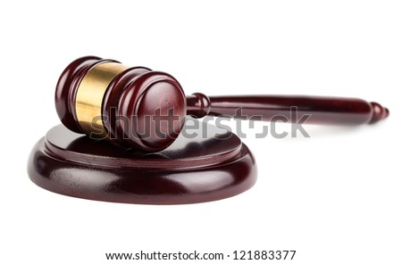 Brown auction wooden gavel with shadow isolated on white background