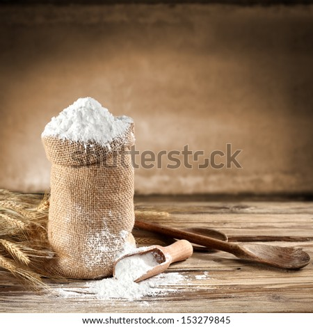 brown background of flour