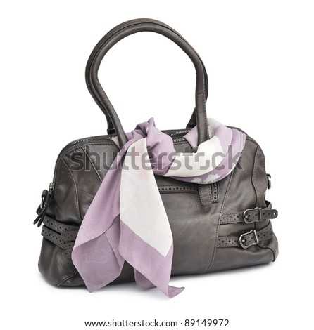 brown bag and scarf on the white background