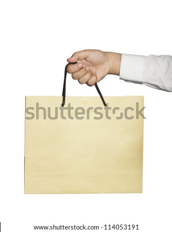 brown bag in hand isolated on white