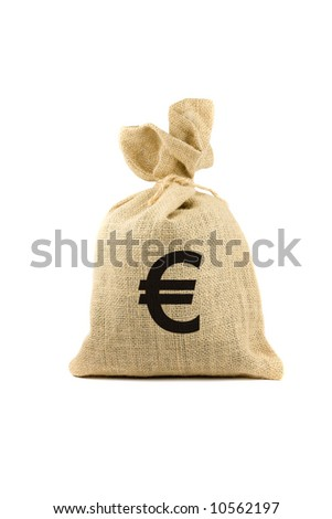 Brown bag with euro sign. Isolated on white