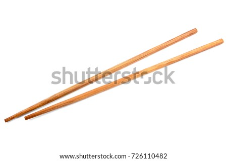 Brown bamboo chopsticks isolated on white background.Chopsticks isolated #726110482