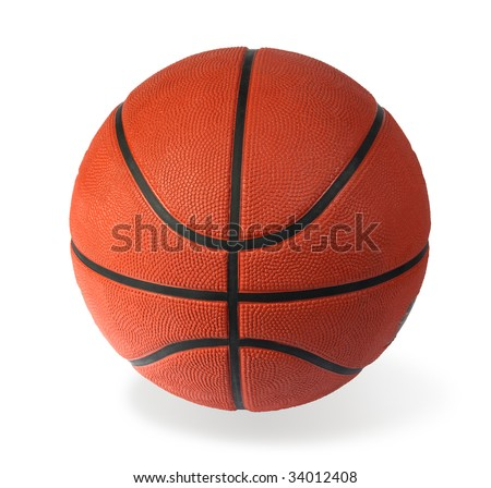 Brown basket-ball ball on a white background