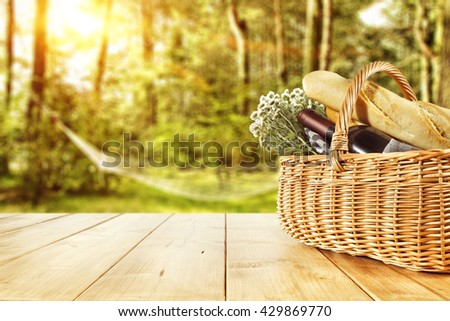 brown basket bread and forest  #429869770