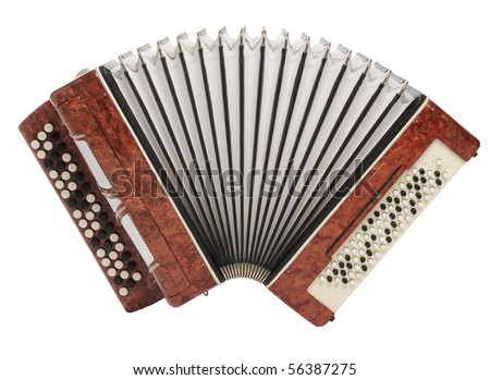 Brown bayan (accordion) isolated on white background