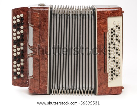 Brown bayan (accordion) on white background. - stock photo