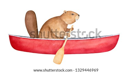 Brown beaver character in blank red canoe, rowing with wood paddle. Side view. Symbol of ingenuity, diligence, perseverance. Handdrawn watercolour painting, cutout clipart element for creative design.