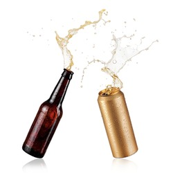 Brown beer bottle and a golden can splash