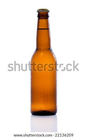 Brown beer bottle covered with water drops, isolated on white