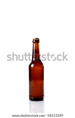 brown beer bottle isolated on white