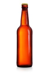 Brown beer bottle with long neck isolated on white background. Without label, water drops.