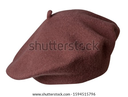 brown beret isolated on white background. hat female beret .