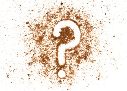 Brown biscuits crumbs with a question mark sign isolated on white background.