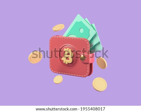 Brown bitcoin wallet with coins and cash isolated on purple background. online shop, finance, banks, money-saving, cashless society concept. 3d render illustration