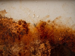 Brown, black and yellow wet rust on white enamel with smudges of water and drops. Rusted brown and white abstract texture. Corroded white metal background. Rusted white painted metal wall.