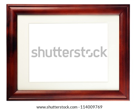 brown blank frame  isolated  on white. Wooden frame with empty space inside for your picture