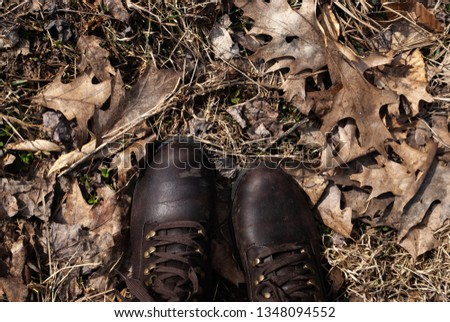 brown boots on brown leaves