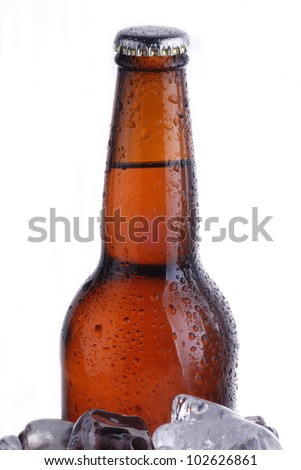 brown bottle of beer chilling on ice