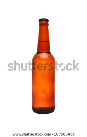 brown bottle of beer on white background