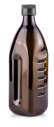 brown bottle with olive oil on white background