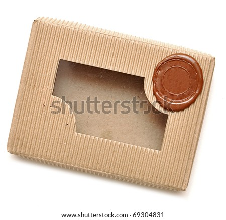 brown box with sealing wax on white