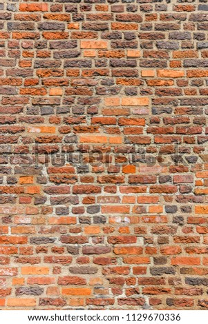 Brown brick wal asl grunge background with copy space #1129670336