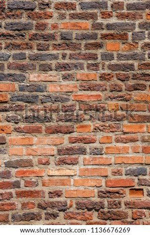 Brown brick wal asl grunge background with copy space #1136676269