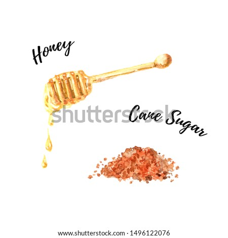 Brown cane sugar and liquid honey dripping from the honey dipper watercolor illustration isolated on white background