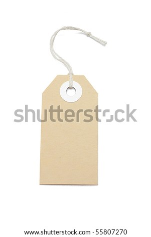 Brown card price tag on white background