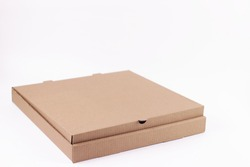 Brown cardboard big size pizza box isolated on a white background. Objects with Clipping Paths