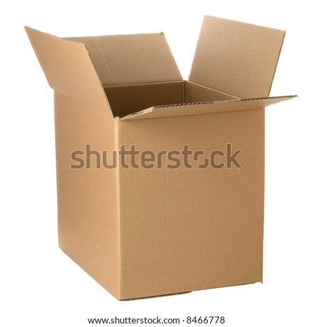 Brown cardboard box, add your own design or logo.  Isolated on white.