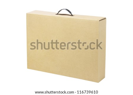 Brown Cardboard Box for Laptop Computer on White Background