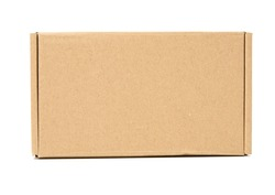brown cardboard box isolated on white background, close up
